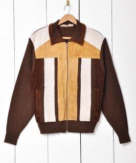 古着「Sears」スエード切り替え  ニットジャケット ブラウン系 古着のネット通販 古着屋グレープフルーツムーン