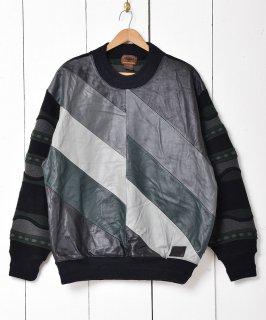 古着スエード切り替え ニットセーター マルチカラー 古着のネット通販 古着屋グレープフルーツムーン