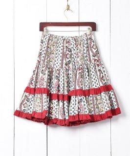 古着フランス製 プロヴァンススカート ネイビー×レッド 古着のネット通販 古着屋グレープフルーツムーン