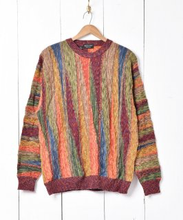 古着イタリア製 立体編み  3D ニットセーター 古着のネット通販 古着屋グレープフルーツムーン