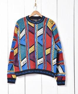 古着アメリカ製 立体編み 3D ニットセーター 古着のネット通販 古着屋グレープフルーツムーン