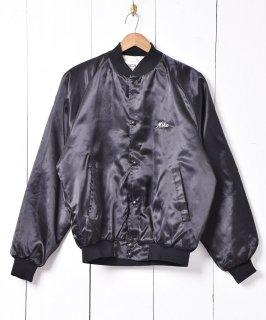 古着アメリカ製 ブラック×ホワイト バック刺繍 ナイロンスタジアムジャケット  古着のネット通販 古着屋グレープフルーツムーン