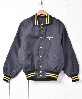 古着 ブラック×イエロー 襟付き 刺繍 ナイロンスタジアムジャケット 古着のネット通販 古着屋グレープフルーツムーン