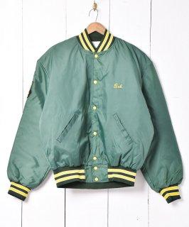 古着アメリカ製  グリーン×イエロー ナイロンスタジアムジャケット 古着のネット通販 古着屋グレープフルーツムーン