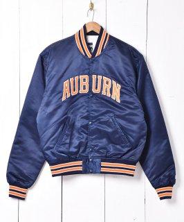 古着ネイビー×オレンジ 「オーバーン大学」 ナイロンスタジアムジャケット 古着のネット通販 古着屋グレープフルーツムーン