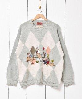 古着イタリア製 アルパカ混 刺繍×パッチ ニットセーター 古着のネット通販 古着屋グレープフルーツムーン