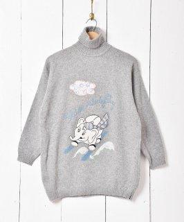 古着イタリア製 アニマル柄 ハイネックセーター グレー 古着のネット通販 古着屋グレープフルーツムーン