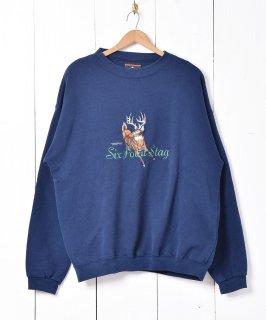 古着Six point stag 鹿刺繍 スウェットシャツ 古着のネット通販 古着屋グレープフルーツムーン