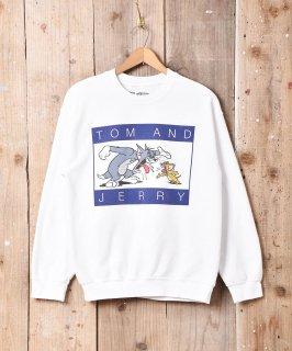 古着「TOM AND JERRY」プリントスウェットシャツ ホワイト系  古着のネット通販 古着屋グレープフルーツムーン