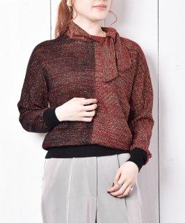 古着フランス製 リボンタイ 金糸ニット 古着のネット通販 古着屋グレープフルーツムーン