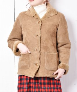 古着レザー ボアジャケット ブラウン 古着のネット通販 古着屋グレープフルーツムーン