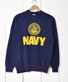 古着US NAVY フロッキープリントスウェット 古着のネット通販 古着屋グレープフルーツムーン