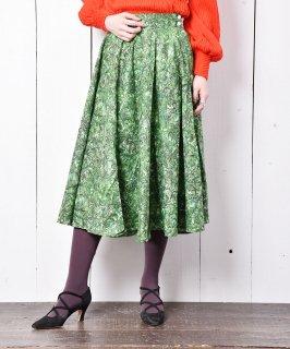 古着Emerald Motel フェザーパターン サーキュラースカート グリーン 古着のネット通販 古着屋グレープフルーツムーン