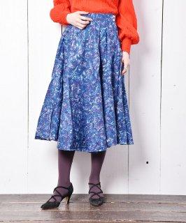 古着Emerald Motel フェザーパターン サーキュラースカート ブルー 古着のネット通販 古着屋グレープフルーツムーン