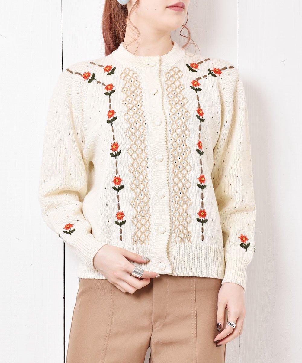 古着 花刺繍 デザインニットカーディガン 古着 ネット 通販 古着屋グレープフルーツムーン