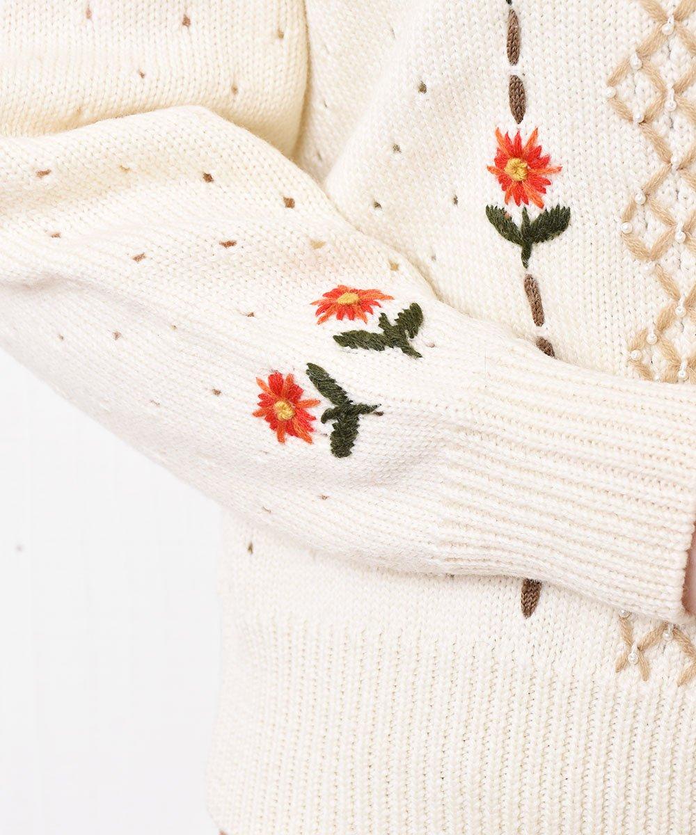 花刺繍 デザインニットカーディガンサムネイル