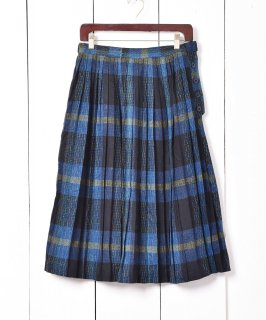 古着フランス製 タータンチェック柄 プリーツウールスカート  古着のネット通販 古着屋グレープフルーツムーン
