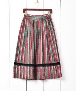古着ヨーロッパ製 ハートチェーン付き ストライプパターン チロルスカート 古着のネット通販 古着屋グレープフルーツムーン