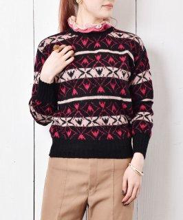 古着イタリア製 フェアアイル調 総柄 フリルネック 二ットセーター  古着のネット通販 古着屋グレープフルーツムーン
