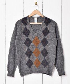 古着イングランド製 アーガイル Vネックセーター グレー系 古着のネット通販 古着屋グレープフルーツムーン