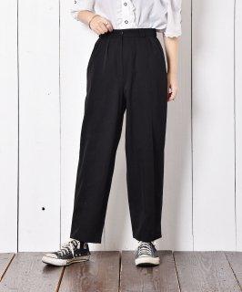 古着フランス製 タックプリーツパンツ ブラック 古着のネット通販 古着屋グレープフルーツムーン
