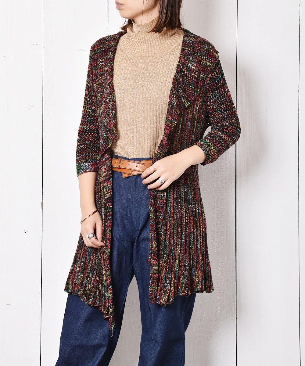 古着 透かし編み マルチカラー ニットカーディガン 古着 ネット 通販 古着屋グレープフルーツムーン