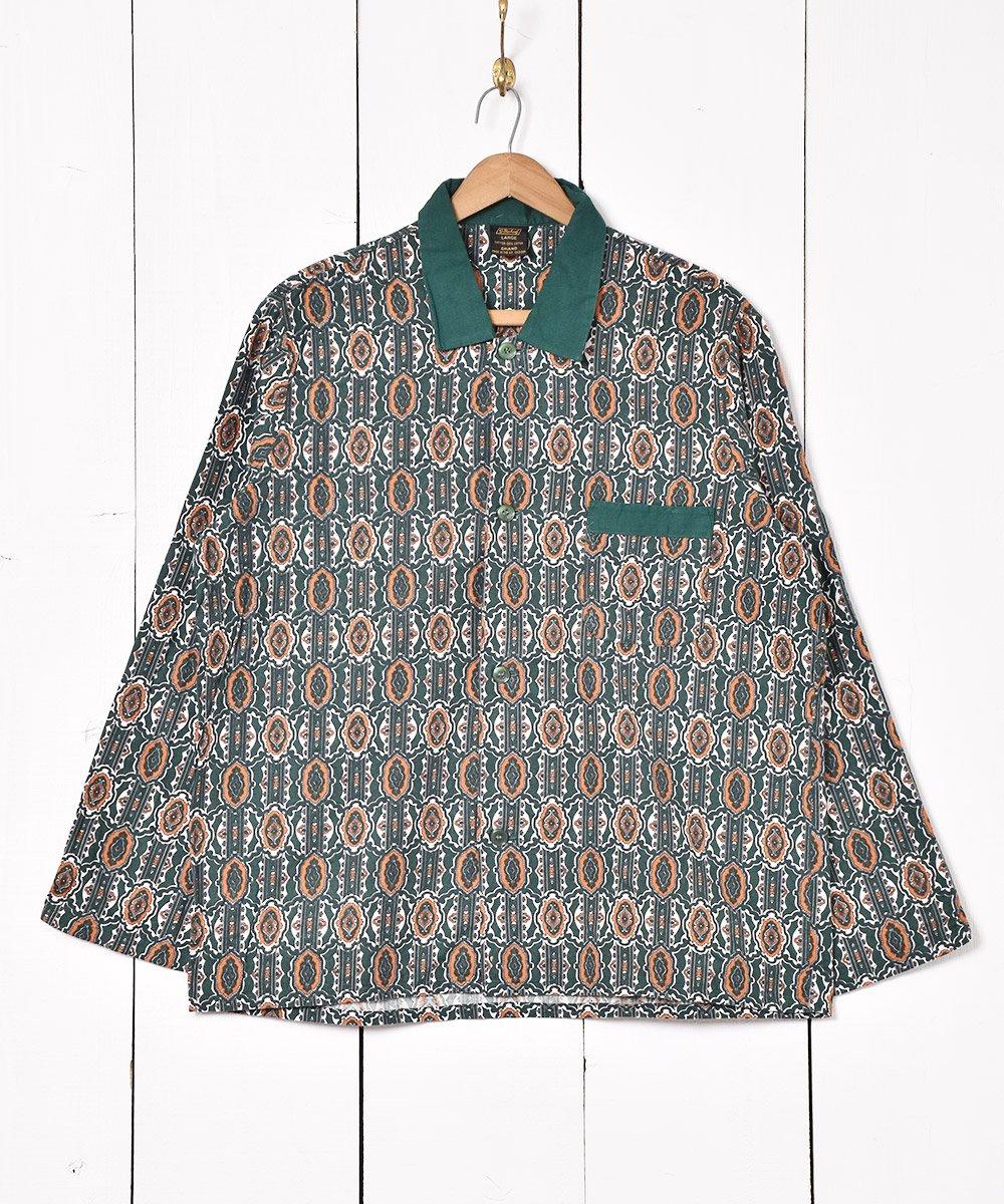 古着 イギリス製 総柄パジャマシャツ 古着 ネット 通販 古着屋グレープフルーツムーン