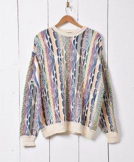 古着シルク混 3Dニットセーター ホワイト系 古着のネット通販 古着屋グレープフルーツムーン