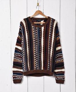 古着アメリカ製 3Dニットセーター マルチカラー 古着のネット通販 古着屋グレープフルーツムーン