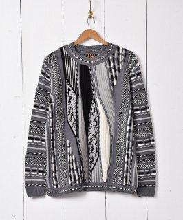 古着立体編み 3Dニット セーター グレー 古着のネット通販 古着屋グレープフルーツムーン