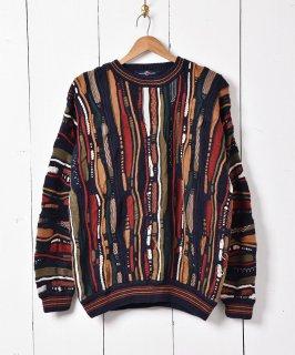 古着3Dデザイン コットンニットセーター 古着のネット通販 古着屋グレープフルーツムーン