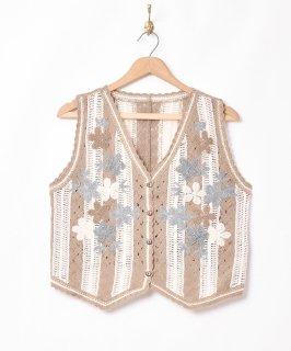 古着「Meridian」フラワーステッチ ニットベスト 古着のネット通販 古着屋グレープフルーツムーン