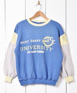 古着ウエスト・コースト大学 カレッジプリント スウェットシャツ ブルー 古着のネット通販 古着屋グレープフルーツムーン