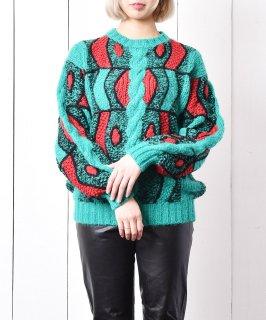 古着総柄 デザイン ミックスニットセーター 古着のネット通販 古着屋グレープフルーツムーン
