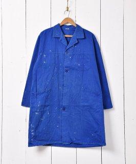 古着ペンキ付き ワークコート ブルー 古着のネット通販 古着屋グレープフルーツムーン