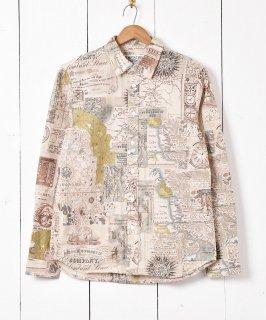 古着「TEMPTATION」 マップ柄 長袖リネンシャツ 古着のネット通販 古着屋グレープフルーツムーン