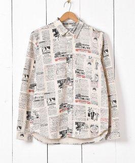 古着「TEMPTATION」ニュースペーパー柄 長袖リネンシャツ 古着のネット通販 古着屋グレープフルーツムーン