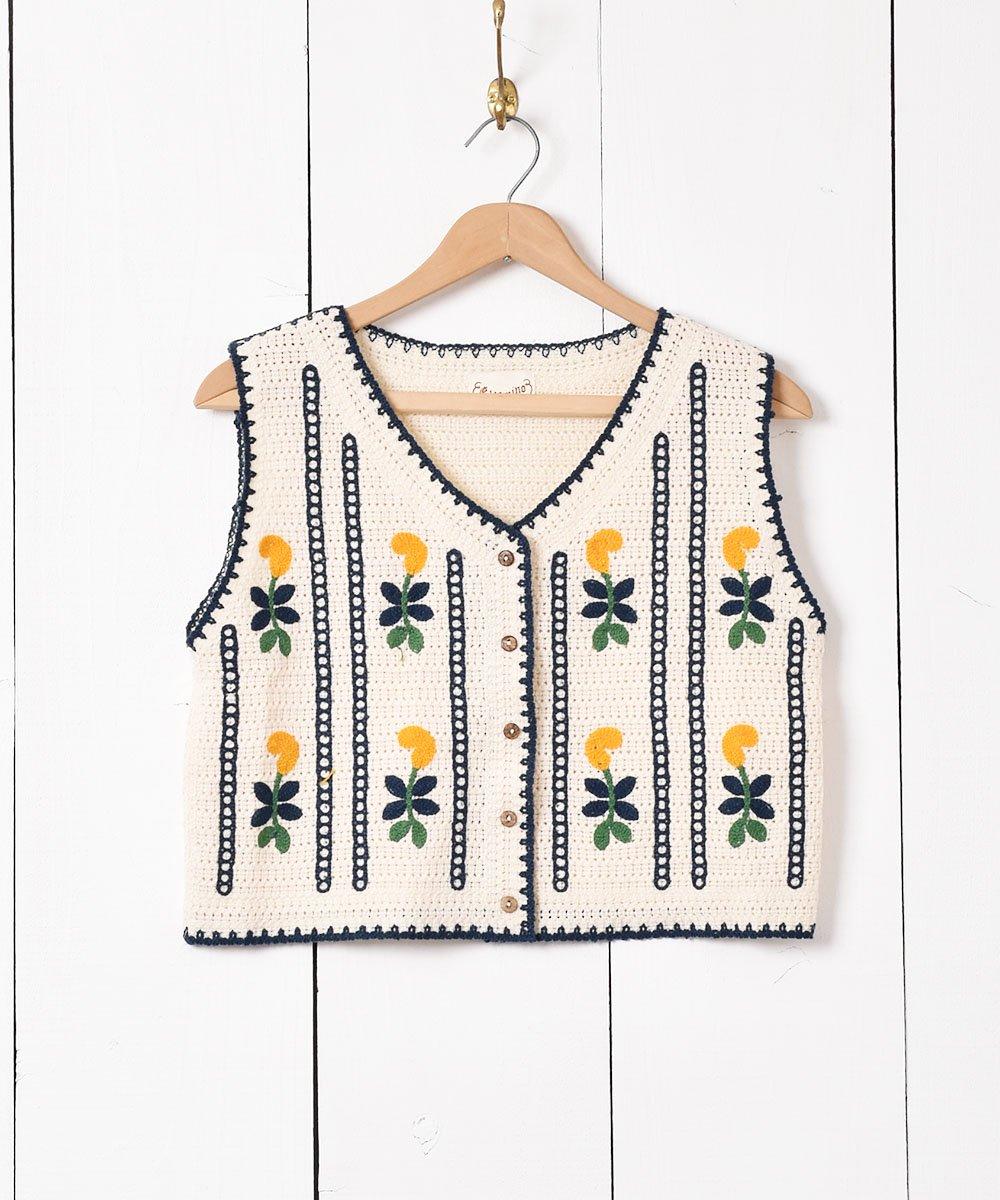 古着 「Elcamino」 花刺繍 ニットベスト 古着 ネット 通販 古着屋グレープフルーツムーン