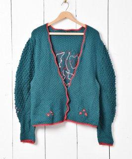 古着ヨーロッパ製 グリーン×レッド Vネック チロルカーディガン 古着のネット通販 古着屋グレープフルーツムーン