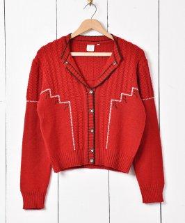 古着ヨーロッパ製 チロルカーディガン レッド 古着のネット通販 古着屋グレープフルーツムーン