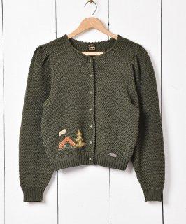古着パッチワーク刺繍 チロル カーディガン グリーン 古着のネット通販 古着屋グレープフルーツムーン