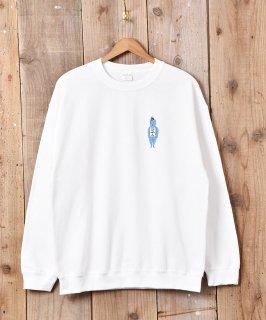 古着【2色展開】「BACKERS」ハットマンプリント裏起毛スウェットシャツ ホワイト 古着のネット通販 古着屋グレープフルーツムーン