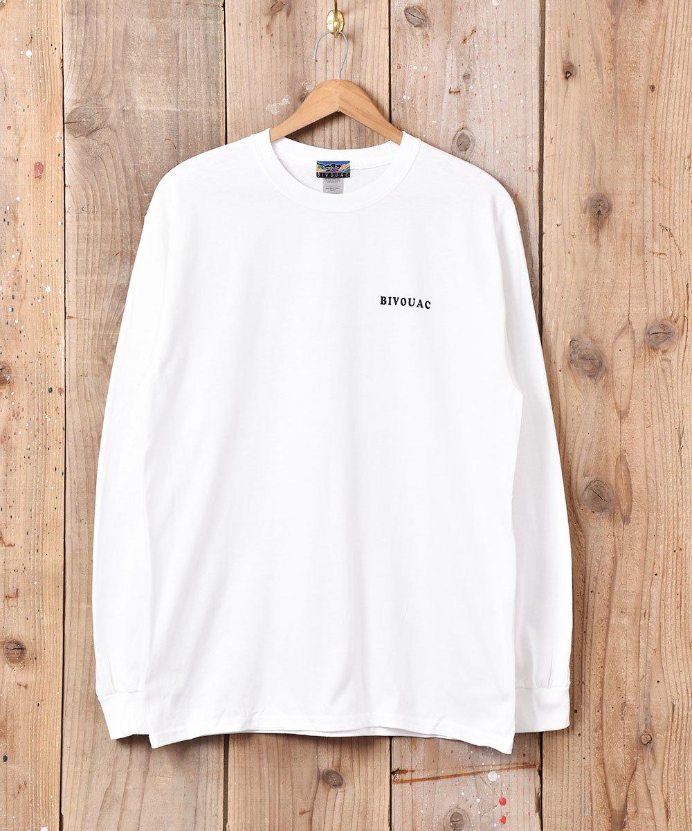 古着 【3色展開】「BIVOUAC」 プリント ロングスリーブ Tシャツ ホワイト 古着 ネット 通販 古着屋グレープフルーツムーン