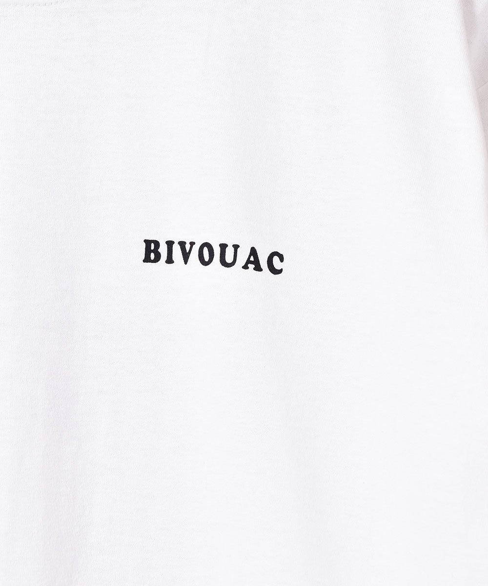 【3色展開】「BIVOUAC」 プリント ロングスリーブ Tシャツ ホワイトサムネイル