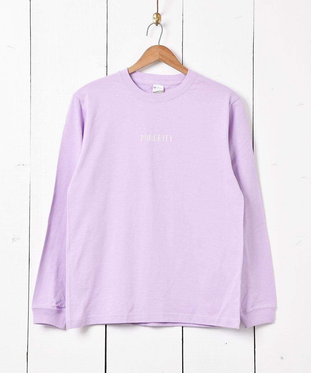 古着 【2色展開】「Backers」MINORITYプリント ロングスリーブ Tシャツ パープル 古着 ネット 通販 古着屋グレープフルーツムーン