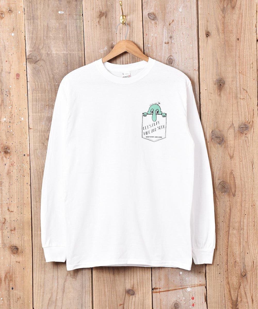 古着 【2色展開】「BACKERS」Hede&Seek グラフィックプリント ロングスリーブTシャツ ホワイト 古着 ネット 通販 古着屋グレープフルーツムーン