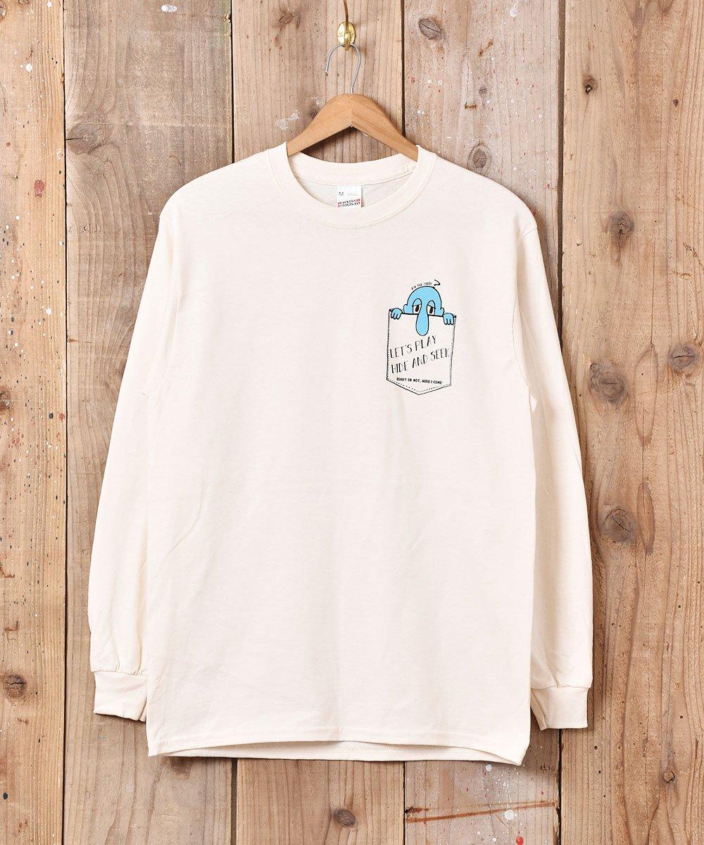 古着 【2色展開】「BACKERS」Hede&Seek グラフィックプリント ロングスリーブTシャツ ベージュ 古着 ネット 通販 古着屋グレープフルーツムーン
