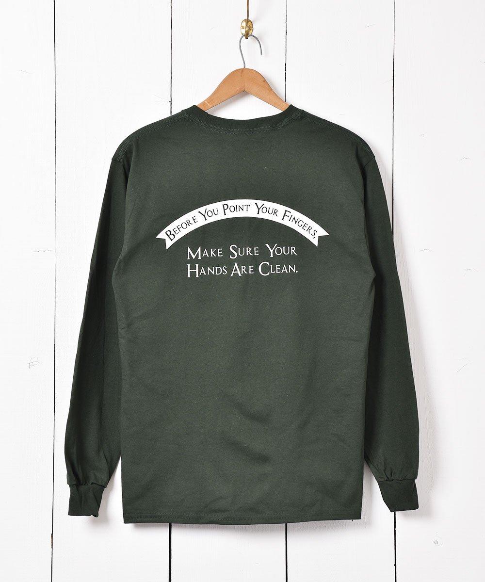 【2色展開】ハンド アーチリボン グラフィックプリント ロングスリーブTシャツ グリーンサムネイル