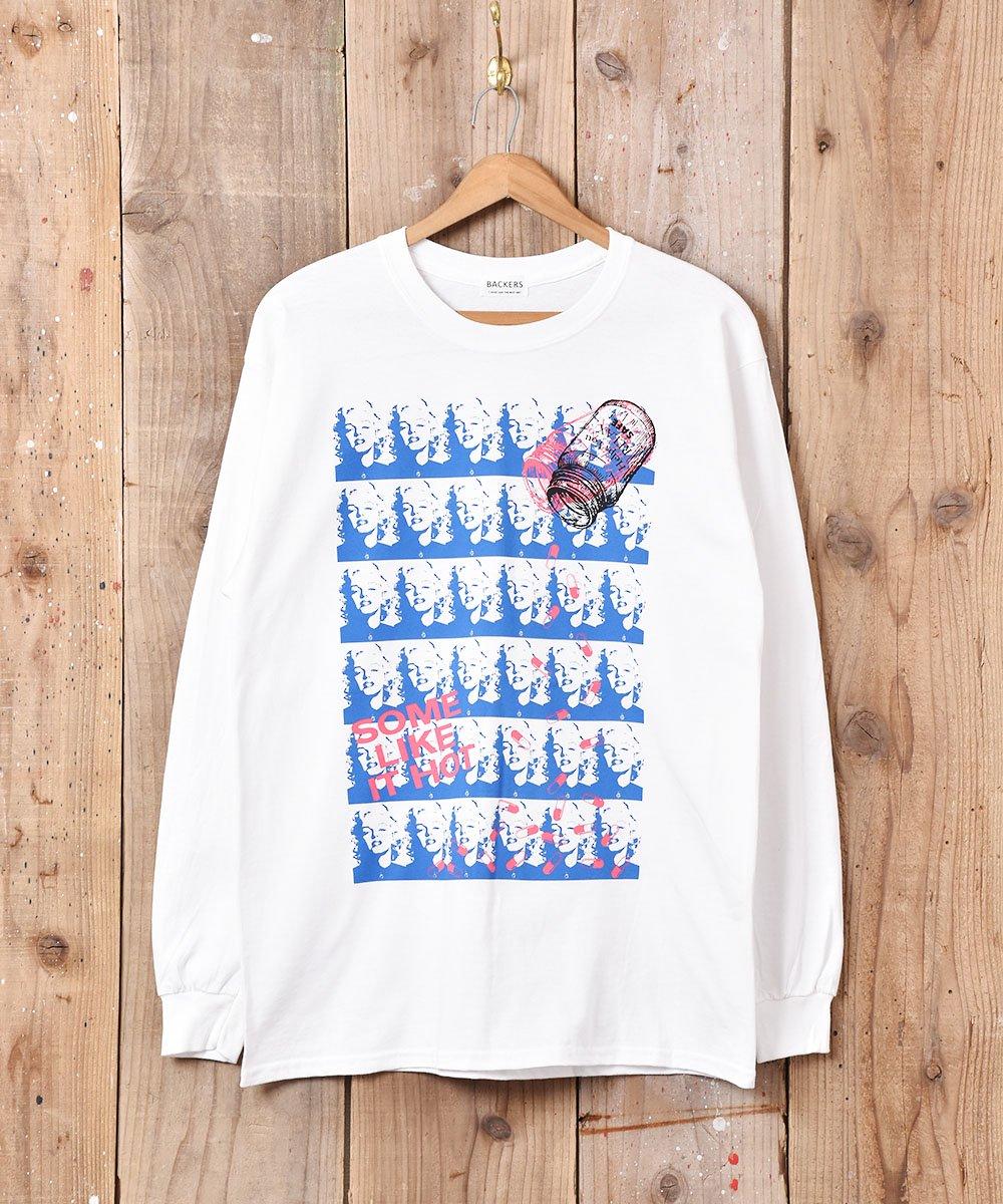 古着 【2色展開】「BACKERS」マリリンモンロー グラフィックプリント ロングスリーブTシャツ ホワイト  古着 ネット 通販 古着屋グレープフルーツムーン