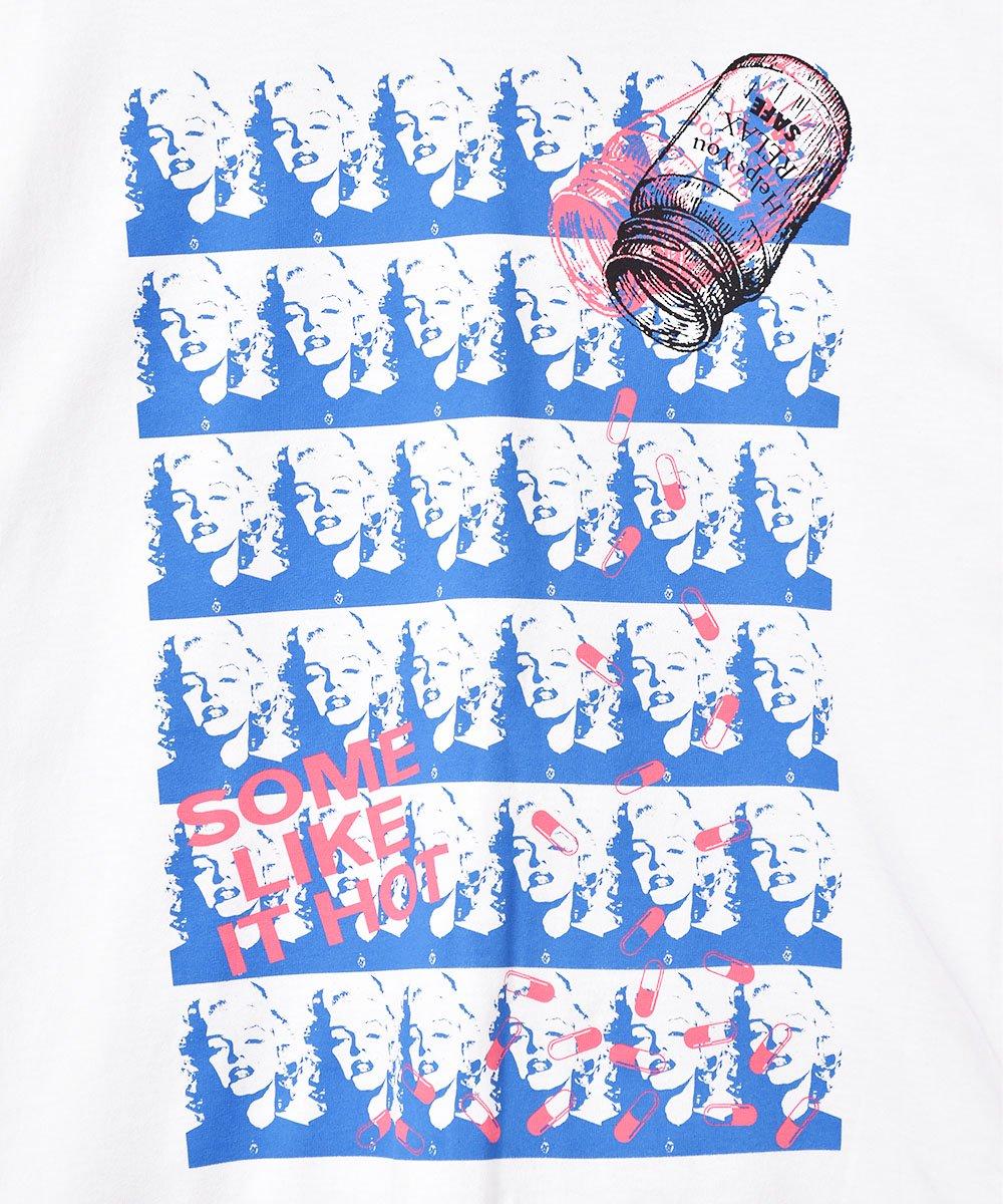 【2色展開】「BACKERS」マリリンモンロー グラフィックプリント ロングスリーブTシャツ ホワイト サムネイル